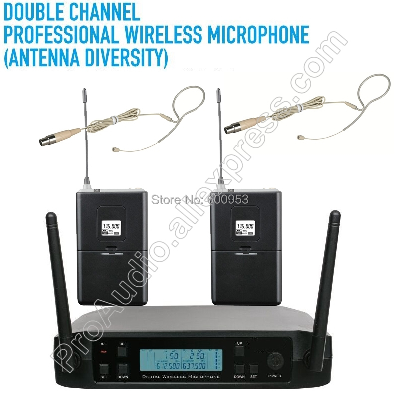 MICWL D220B UHF 610-650MHz Frequency Adjustable 2 Beige Hook Headset Wireless Microphone System