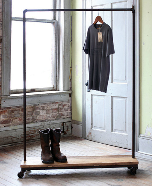 American Country Style Furniture Wrought Iron Clothes Rack Made Of Old Wood Vintage Clothing Display
