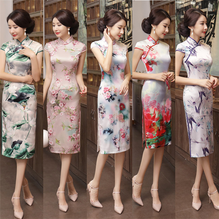 New Women Red Tight Sexy Bodycon Dress Wedding Party Wear Elegant Knee-length Split Modern Design Chinese Traditional Cheongsams