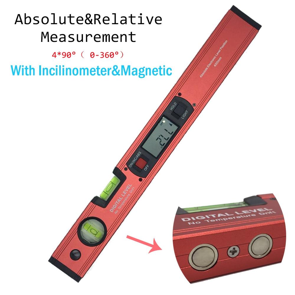 Цифровой Angle Finder уровень 360 градусов диапазон Дух Уровень вертикальный инклинометра с магнитами Транспортиры правитель
