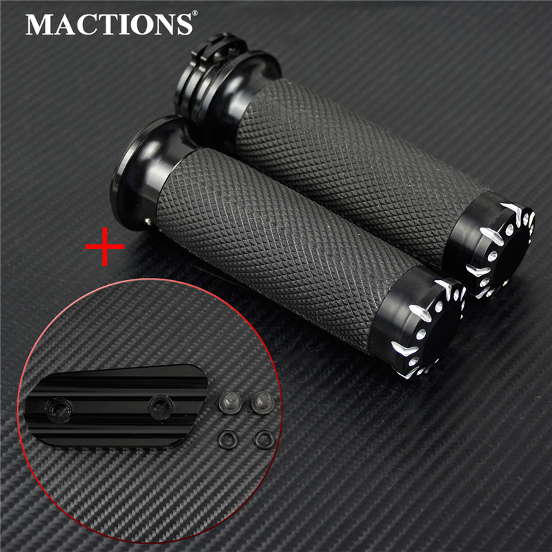 Non-electronic 1.25''mm Rubber Handlebar Hand Grips For Harley Sportster 883 Iron 1200 XL Touring VRSC Dyna Softail Custom