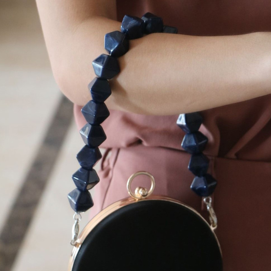 Luxury Design 40cm Handmade Beaded Acrylic Bags Strap Pearl Chain Purse Belt For Handbags Tower Square Bead Belt Bag Accessories