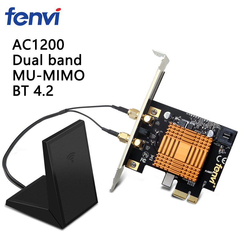 Fenvi bureau sans fil double bande Intel 8265AC 802.11ac 867 Mbps Wlan 8265NGW WiFi + Bluetooth 4.2 carte PCI Express adaptateur PCI-EFenvi bureau sans fil double bande Intel 8265AC 802.11ac 867 Mbps Wlan 8265NGW WiFi + Bluetooth 4.2 carte PCI Express adaptateur PCI-E