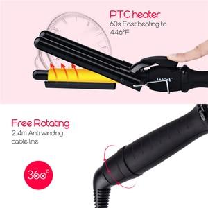 Image 2 - Varita de rizador de pelo de 3 barriles, 19 25mm, rizador de pelo de cerámica de calentamiento rápido Digital LCD, ondulador profundo, permanente, Styler36