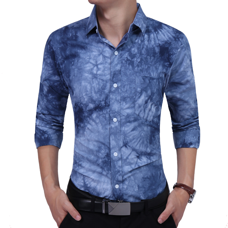 2017 Fashion Men Shirts Long Sleeve Mens Casual Shirt Slim Men Printing Dress Shirts XE007205