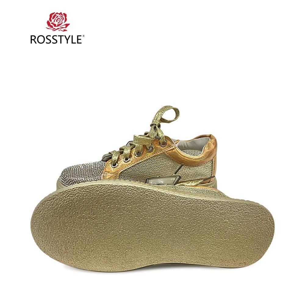 Vintage Pu Clásico Pie A Champagne Rosstyle gold Del Mujer Y P16 Tacón Zapatos Suave Casuales Mano Hechos Encaje La Dedo De Redondo Moda Gruesa RfqRpw