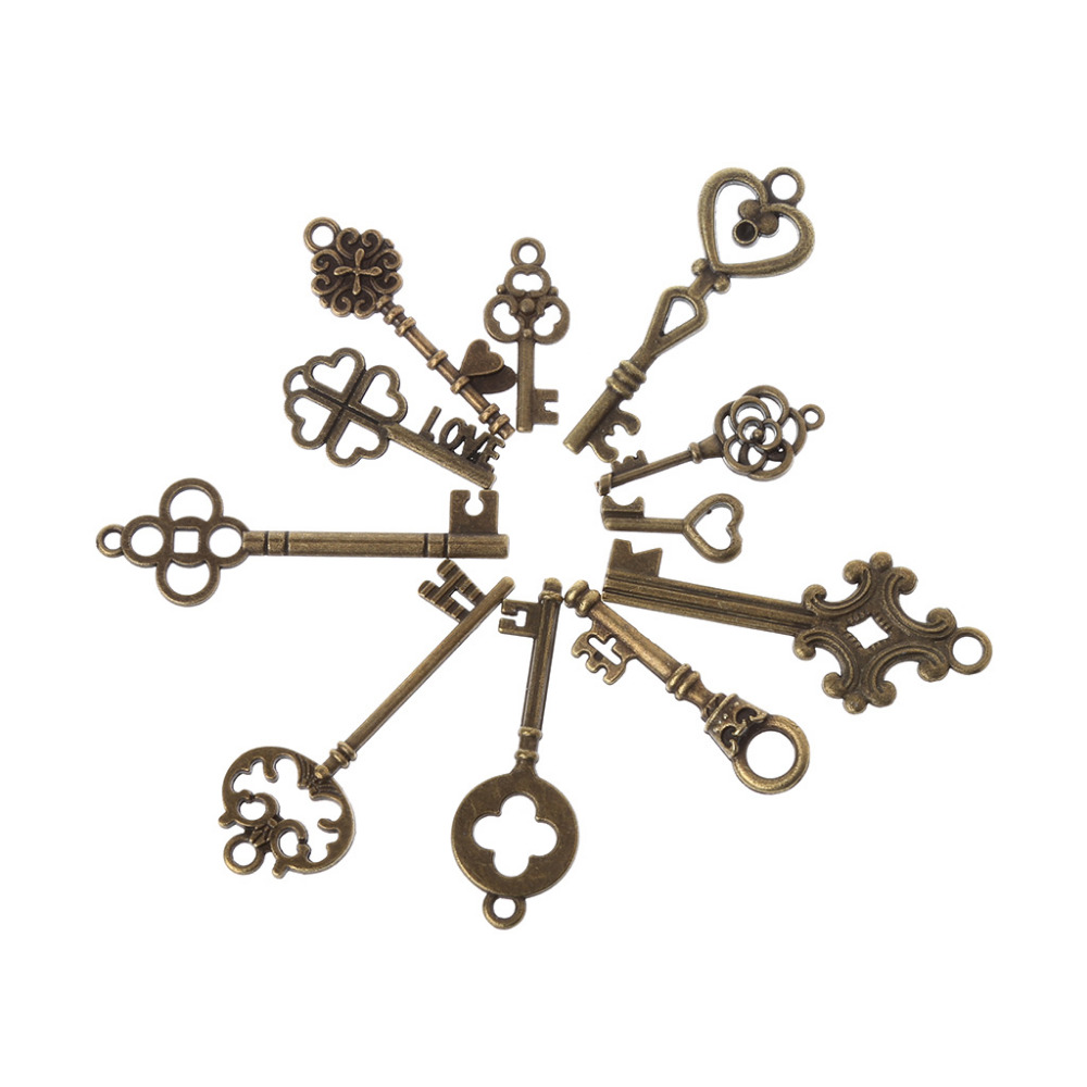 11Pcs//Set Antique Vintage Old Look Skeleton Keys Bronze Steampunk Pendants Z