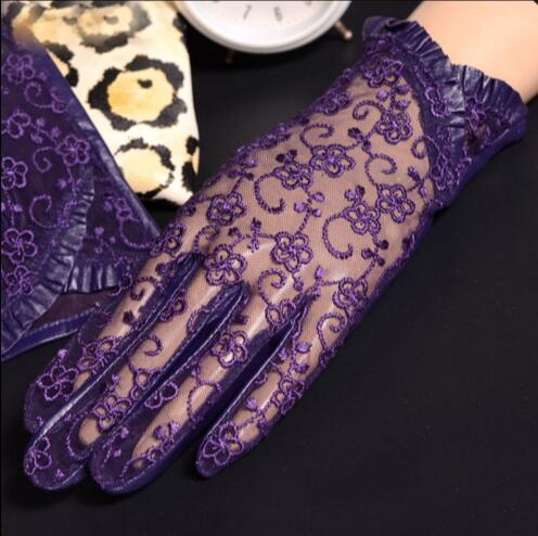 Black Sexy Lace Gloves High Quality Ladies Genuine Leather Sheepskin Gloves Sun Protection Gloves Mittens