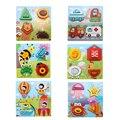 Placa de Quebra-cabeças De Madeira Das Crianças Dos Miúdos Do Bebê Dos Desenhos Animados 3D Puzzles Cubos Mágicos Brinquedo de Desenvolvimento para Crianças Caçoa o Presente