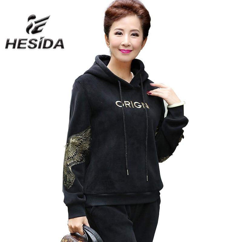 Winter Thick Warm Hoodie Women 2Piece Set Sport Suit for Mom Velvet Sweatshirt Jogging Brand Female Fur Sweatpants Hot Hood Coat