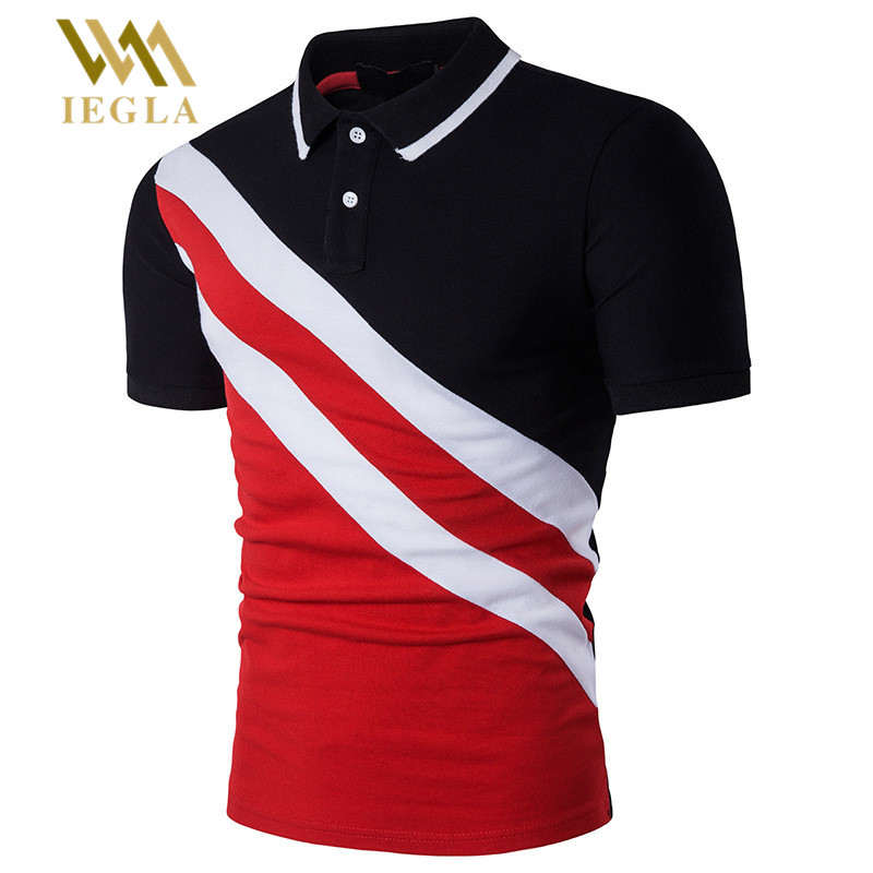 Polo   Shirt Men Short Sleeve   Polo   Shirs Black Red Stripe Splicing Men's Clothing Camiseta Masculina   Polos   Para Hombre Top Quality