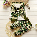 2016 New Children's Clothing Children's Korean Version of The Cotton Long-sleeved Suit Baby Camouflage Three-piece Free Shipping