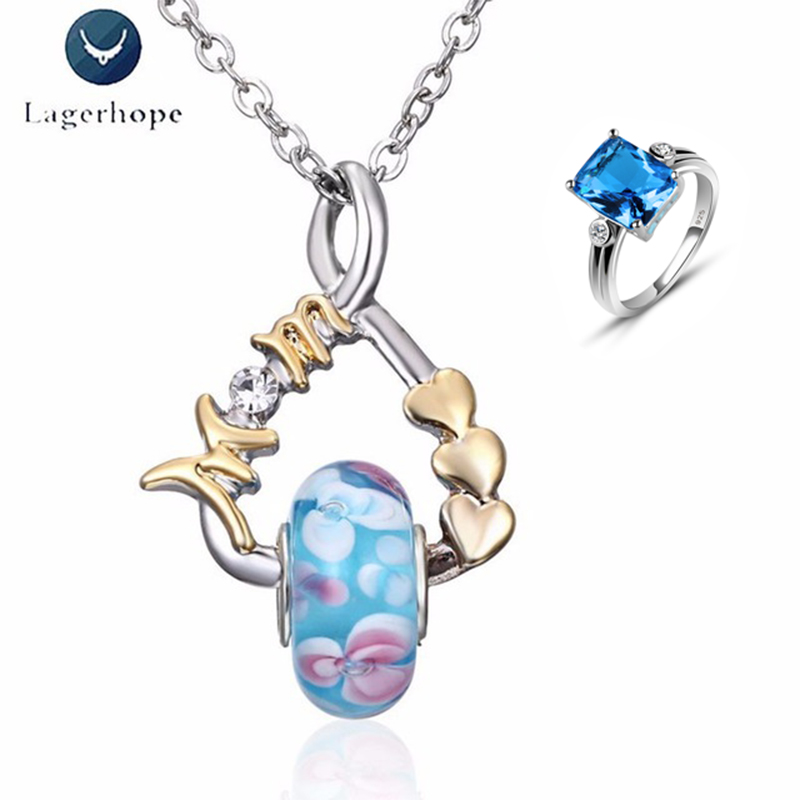 Individual Quality 925 Ring Necklace Jewelry Sets Women Blue Crystal Mothers Day Birthday Festival Gift Mom