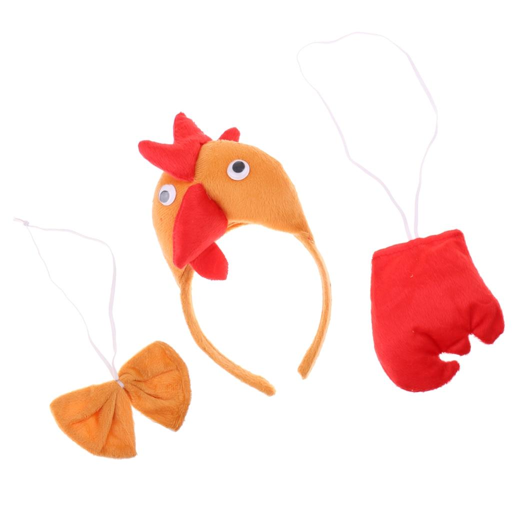 Ausdrucksvoll Unisex Kinder Hens Cock Stirnband Schwanz Bogen Krawatte Kostüm Zubehör Phantasie Kleid Gute QualitäT
