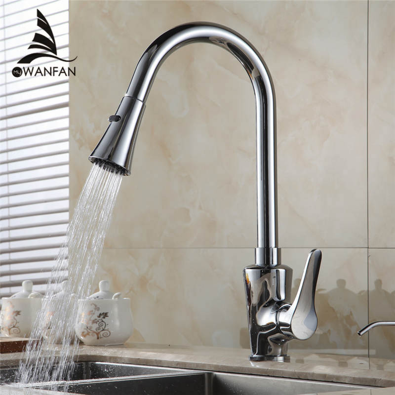 Polished Chrome Pull Out Kitchen Sink Faucet Single Handle Hot & Cold Water Kitchen Mixer Tap Free Shipping GYD-5102L donyummyjo brass sink pull out kitchen faucet hot cold mixer water tap deck mounted single hole single handle polished 8023
