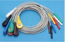 Бесплатная доставка aaami Холтеру ЭКГ Leadwire, 7 приводит, оснастки, AHA d1.5 snap 4.0 холтеровское Кабели для холтеровское машина