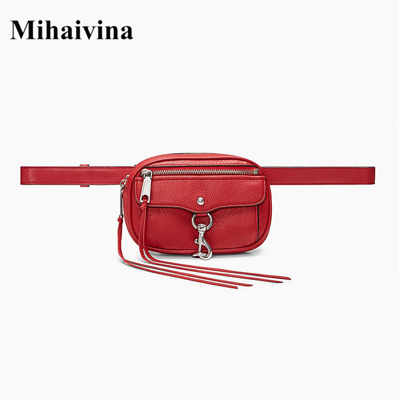 Mihaivina Luxury Fanny Packs For Women Waist Bag Leather Chest Belt Bag Fashion Chain Shoulder Tassel Bags Travel Wallet Purse