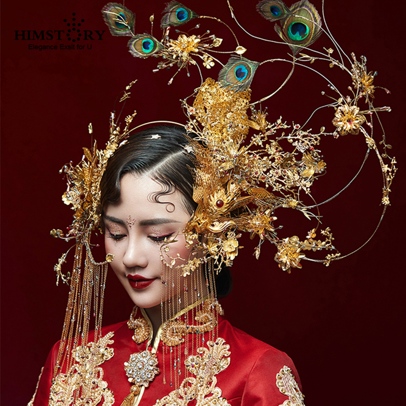 HIMSTORY Gorgeous Handmade Phoenix Coronet Stage Chinese Vintage Style Hair Accessories Peacock Feather Show Angel Headdress