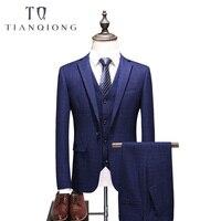 3 предмета костюм Для мужчин Slim Fit Жених Свадебный костюм плюс Размеры корейской моды Для мужчин s Бизнес Костюмы Высокое качество смокинг + ж