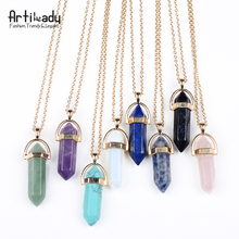Artilady gold color natural crystal stone pendant necklace fashion opal pendant necklace for women jewelry