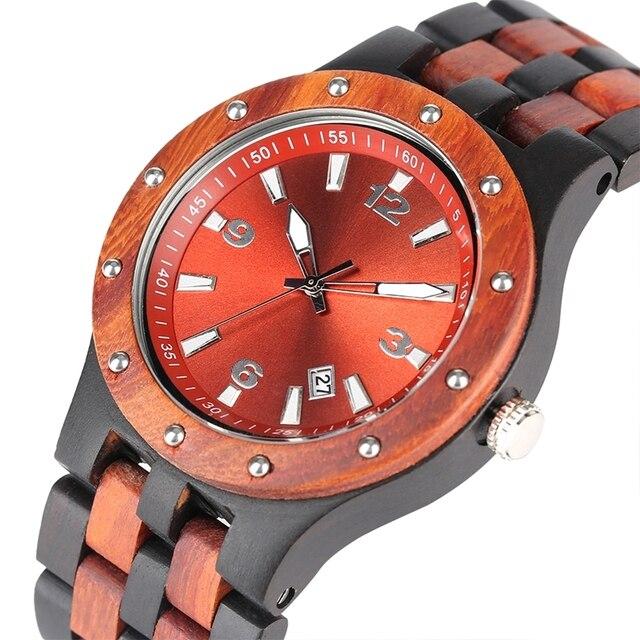 Reloj de sándalo rojo ébano reloj de hombre Vogue grabado remache bisel reloj de madera Calendario de banda amaderada completa hora analógica de cuarzo reloj