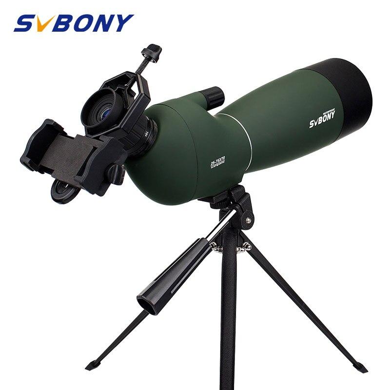 SVbony telescopio SV28 Zoom 50/60/70mm telescopio impermeable Birdwatch caza Monocular y adaptador de teléfono Universal adaptador mountF9308