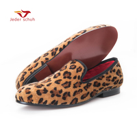 Velvet Shoes Men Loafers 2016 Leopard Nightclub Style Men Flats Plus Size US6 14 Free Shipping
