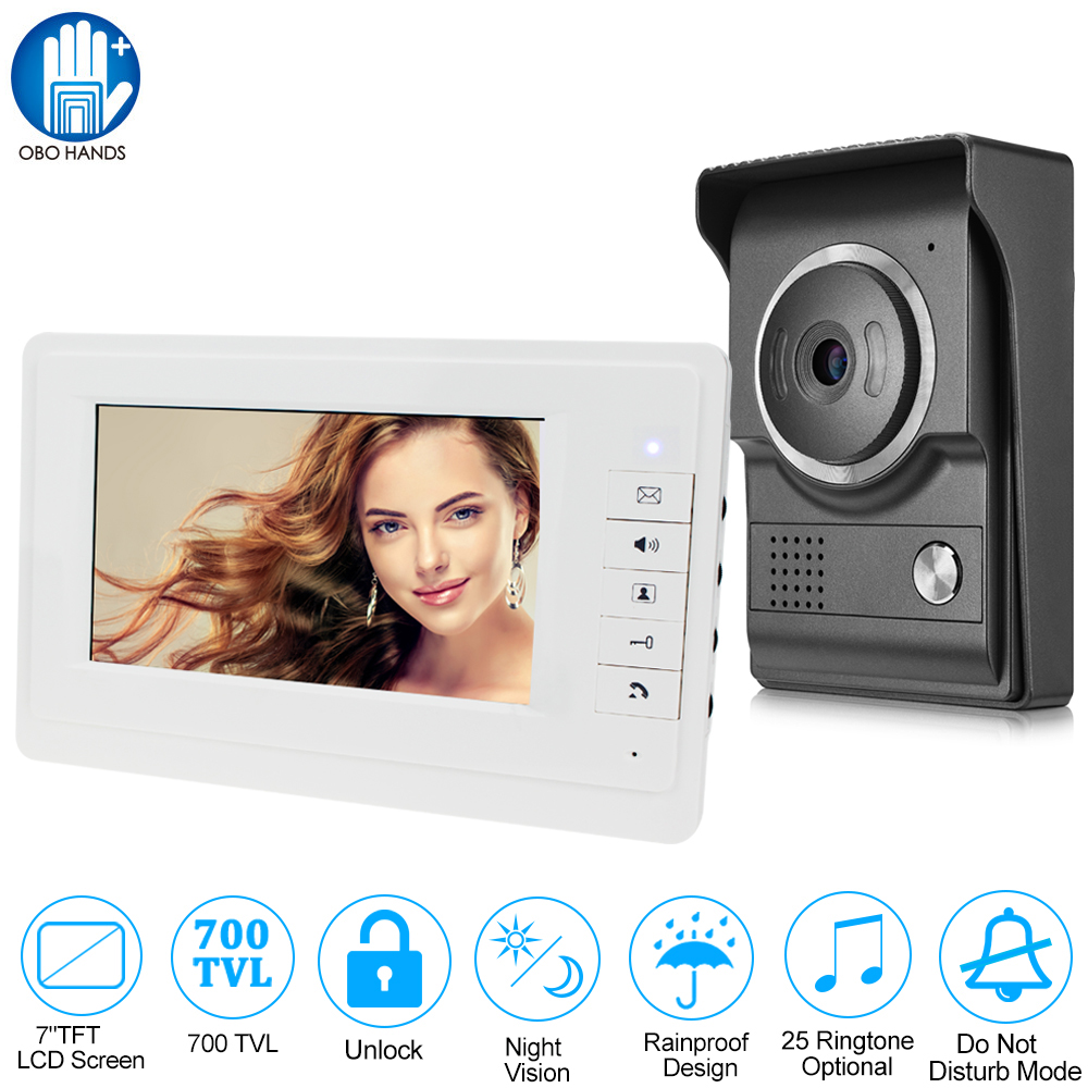 Wired 7'' TFT Color Video Door Bell Intercom System 1 White Monitor Screen + 1 Outdoor Camera IR Night Vision 700TVL for Home