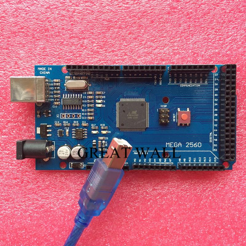 10set/lot MEGA 2560 R3 (ATmega2560-16AU CH340G) AVR USB board + USB cable (ATMEGA2560 ) for Arduino MEGA2560 xindai