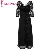 ANGVNS Elegant Lace Chiffon Long Vestidos Women Back O Neck Lace Patchwork Ruched Ruffles Maxi Long Dress Feminino Dresses