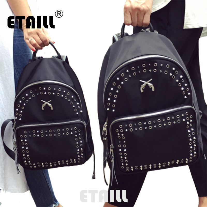 2016 New Students Ladies Waterproof Oxford Famous Brand Casual Backpacks School Travel Studded Rucksacks Sac a Dos Femme Ecole