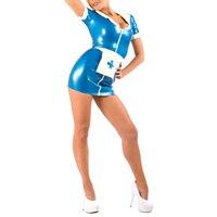 Latex Rubber Night Nurse Dress, Cap & Apron Latex Uniform Set