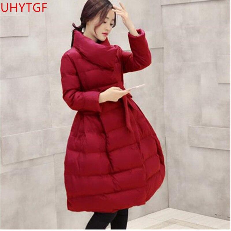 Vestes Longues À Manches D'hiver La Wine black Femmes Le red Taille Manteaux Manteau Pour Coton Slim Plus Red Nouvelle Vêtements Bas Corée Femme Chaud Vers 2018 purple rRfqrwUx