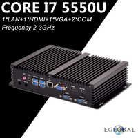 Eglobal Fanless Industrial Mini PC CPU Option i7 5550U i5 4200U i3 5005U 2 COM HDMI VGA 300M Wifi 4K HD HTPC