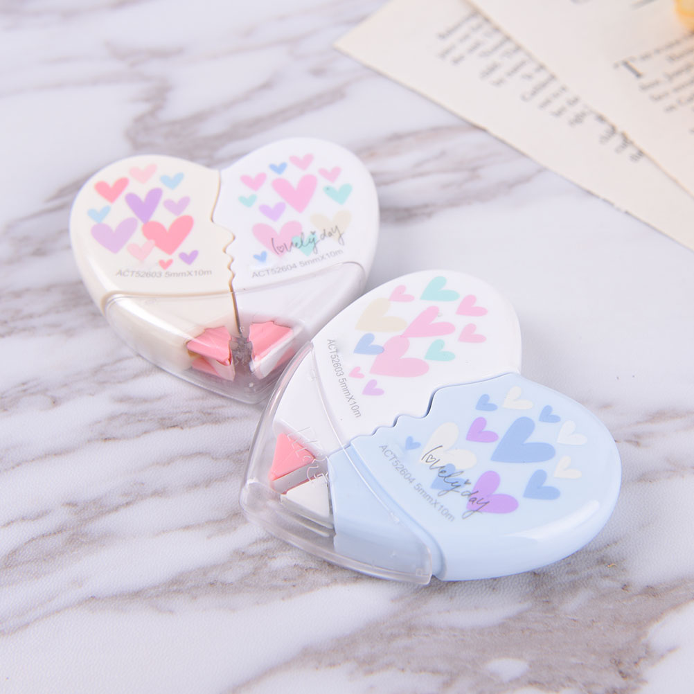 2pcs/set Creative Heart To Heart Correction Tape Corrective Erasers Student Work Supply Student Stationery Correction Supplies