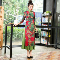 2019 Modern Chinese Oriental Dresses Wedding Cheongsam Robe Ao Dai Vietnam Traditional Dress Women Asian Style Qipao China V1384