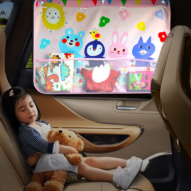 Universal carro janela lateral pára sol cortina verão ajustável protetor solar do bebê sombra solar com rede de armazenamento Toldos p/ janela lateral     - title=