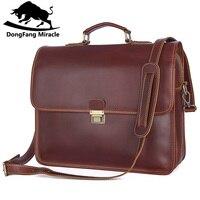 DongFang чудо гарантия пояса из натуральной кожи для мужчин бизнес сумки мужские портфели модные Винтаж Сумка для ноутбука