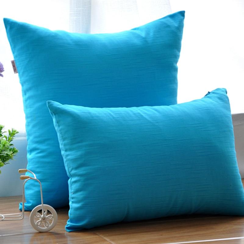 캔디 컬러 코튼 캔버스 베개 순수한 푸른 바다 스타일 장식 소파 쿠션 kaozhen pillowcae 사각형 허리 베개