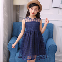 Kids Girls Dress 2018 New Summer Children Ärmlös Klänning Girl Child Princess Grid Dress Vest Klänning