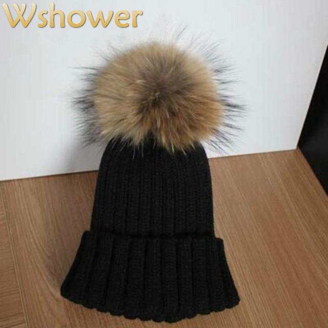 Lady Real Racoon Fur Pom Pom Wool Knit Winter Bobble hat cap Beanie Ski Women Gift Rose Red Gray white Black