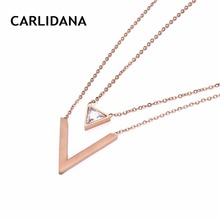 Layered Necklace For Women Stainless Steel Chain With Geometric Pendants Rose Gold Color Necklace Best Gifts in 2018 CARLIDANA