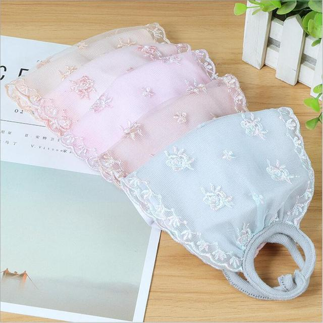 Summer Spring Lace Breathable face mask sun protective Shade anti-dust mouth mask cotton Mouth-muffle Mask Flu Face masks 3