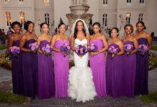 Purple Bridesmaids Dresses Long 2016 Cheap Sweetheart Pleats Chiffon Floor Length Party Dress vestido longo Junior Girl
