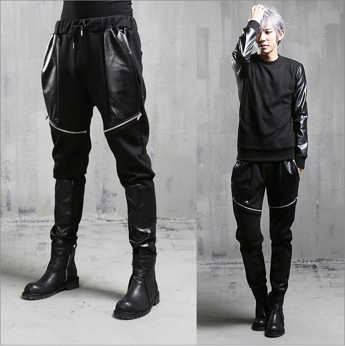 2017 men's new personality Fashion splicing Haren pants loose with elastic  casual pants loose hip hop stage singer costumes