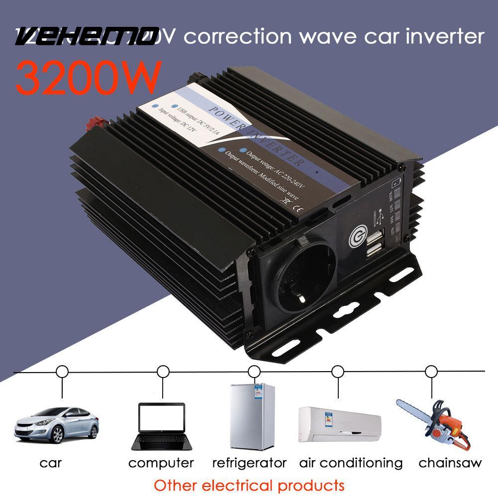 Vehemo DC12V To AC220V Converter Vehicle Solar Power Inverter Portable Auto Car Inverter Adapter Premium Household dc 24v to ac 220v power inverter car vehicle voltage usb power inversor adapter converter car travel inverters fit below 300w