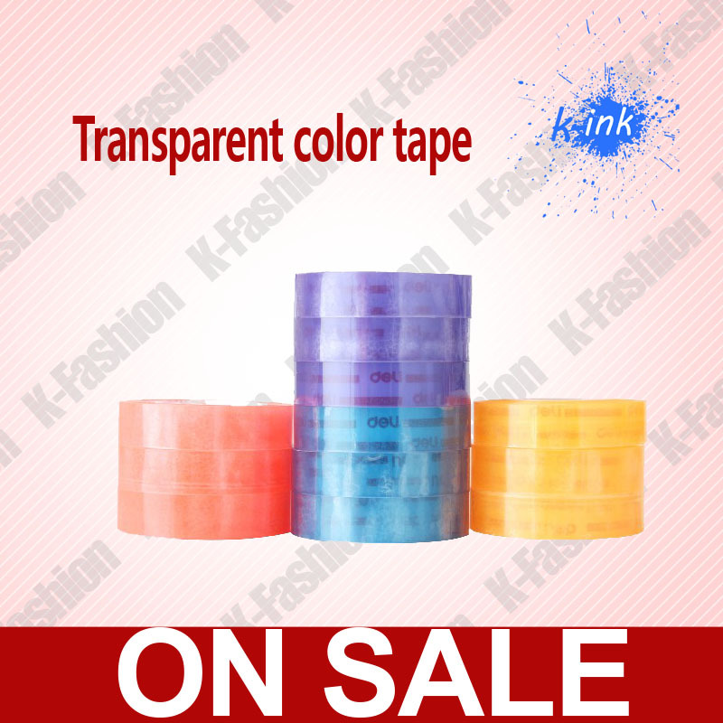 1 Set 12 Rolls Color transparent tape , clear adhesive tape for school students , cute color clear tape