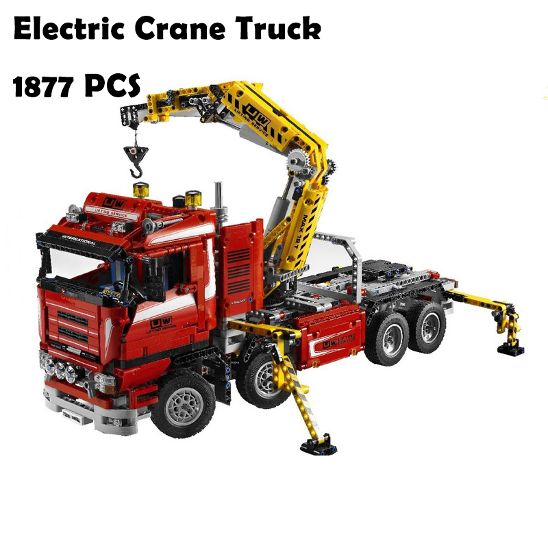 20013 1877pcs Technic Ultimate Mechanical Series Model Building Blocks toys The Electric Crane Truck Compatible with lego 8258