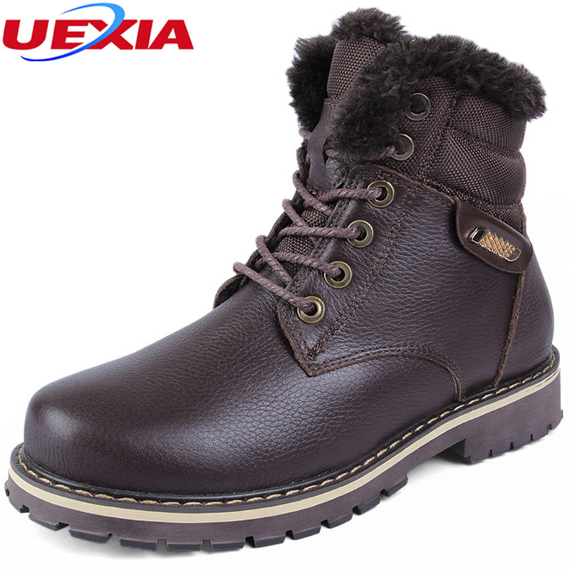 Quality Men Boots for Russian First Layer Cow Leather Shoes Winter Manual Sewing Line Super Warm Snow Ankle boots Big Size 37-50 warmest genuine leather snow boots size 37 50 brand russian style men winter shoes 8815
