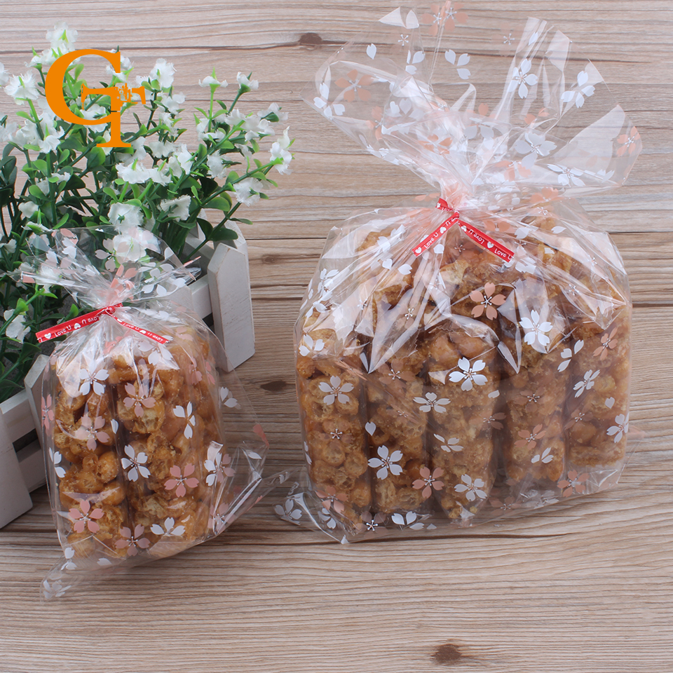 Transpa Pink White Flowerbread Cookie Ng Bags Party Wedding Favors Plastic Top Open Biscuit Packaging Pouches In Gift Wring